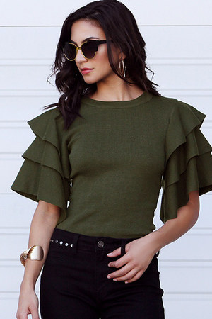 dark green UrbanOG blouse - black UrbanOG jeans