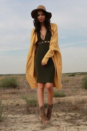 camel UrbanOG boots - olive green UrbanOG dress - mustard UrbanOG cardigan
