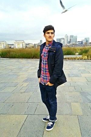 denim H&M jeans - H&M jacket - flannel jack & jones shirt - christian dior socks