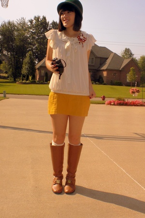 Urban Outfitters hat - H&M shirt - Target skirt - Lost and Found Vintage shoes