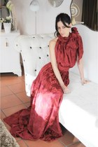 ruby red silk Boüret dress