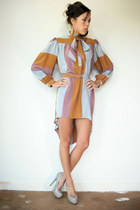beige Steve Madden heels - bronze Viral Threads dress - cream vintage cardigan