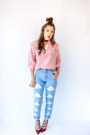 Light-blue-vintage-candies-jeans-ruby-red-multi-strap-urbanog-heels