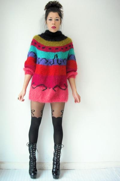 vintage i magnin jumper - platform vintage boots - suspender Topshop tights
