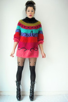 vintage i magnin jumper - platform vintage boots - suspender Topshop tights
