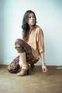 Viral-threads-pants-tan-burnout-vintage-blouse-tan-topshop-heels-red-cardi