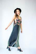 dark green patchwork Viral Threads Vintage dress - black Alexander Wang heels
