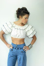 White-ruffle-crop-viral-threads-blouse-periwinkle-wide-leg-anthropologie-pants