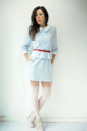 light blue vintage suit - off white heart garter asoscom tights
