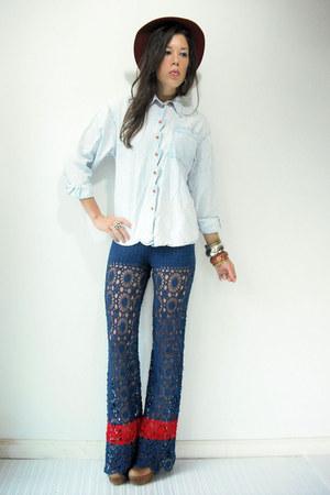 vintage pants - vintage jordache blouse - booties Jeffrey Campbell clogs