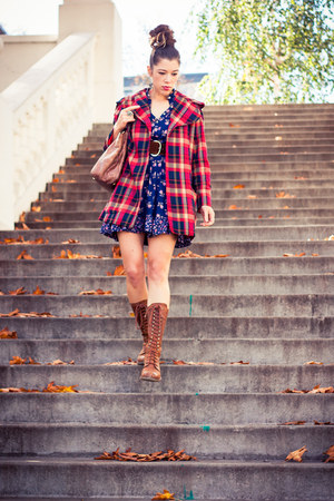 navy calico vintage dress - brown Dr Martens boots - red plaid vintage coat