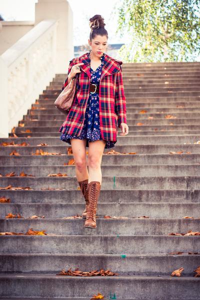 navy calico vintage dress - brown Dr Martens boots - red plaid vintage coat
