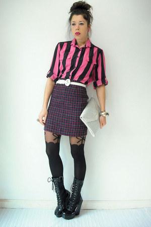bow suspender Topshop tights - platform vintage boots