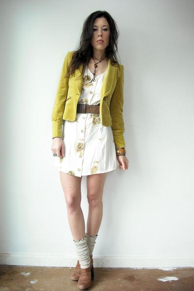 cream vintage from VIRAL THREADS dress - lime green blazer - brown Topshop heels
