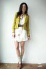 Cream-vintage-from-viral-threads-dress-lime-green-blazer-brown-topshop-heels