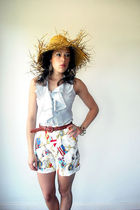 blue The Limited blouse - white vintage from VIRAL THREADS shorts - brown vintag