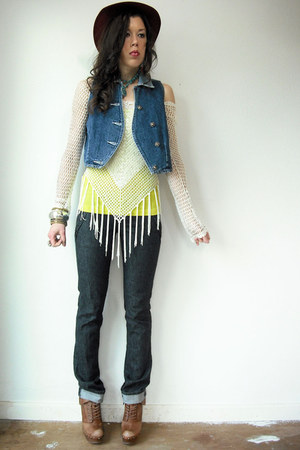 dark gray joes jeans - yellow tank top Forever 21 shirt - blue vintage from VIRA