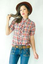 navy vintage jeans - vintage blouse - brown vintage flats - brown vintage belt