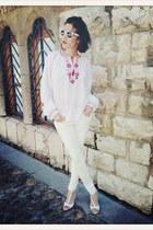 VIRVIN blouse - white Zara jeans - white rayban glasses