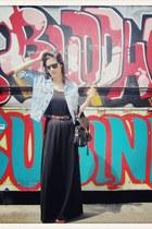 light blue VIRVIN jacket - black H&M dress - brown Topshop bag