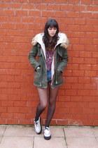 parka camden town coat - creepers TUK shoes - tartan Bershka shirt