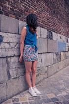 blue Only shirt - hot pink Bershka skirt - ivory Converse pumps