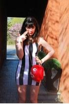 red piranha bag RODNIK BAND bag - black stripes Motel dress - white TUK wedges