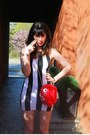Black-stripes-motel-dress-red-piranha-bag-rodnik-band-bag-white-tuk-wedges