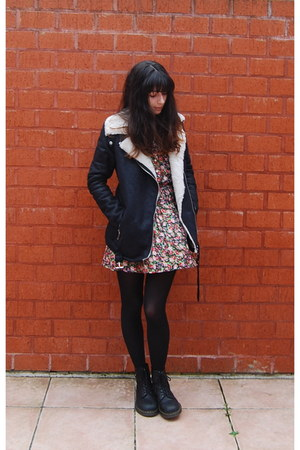 black Dr Martens boots - pink gold buttons camden town dress