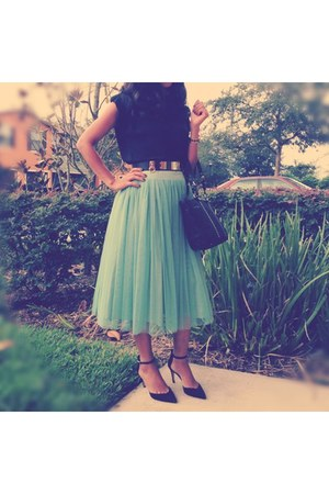 turquoise blue skirt - black Zara shoes - blouse