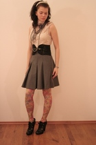 black Miss Sixty belt - yellow Topshop tights - gray skirt - beige Mango top - b