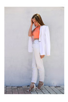hm top - River Island jeans - next blazer - Zara heels