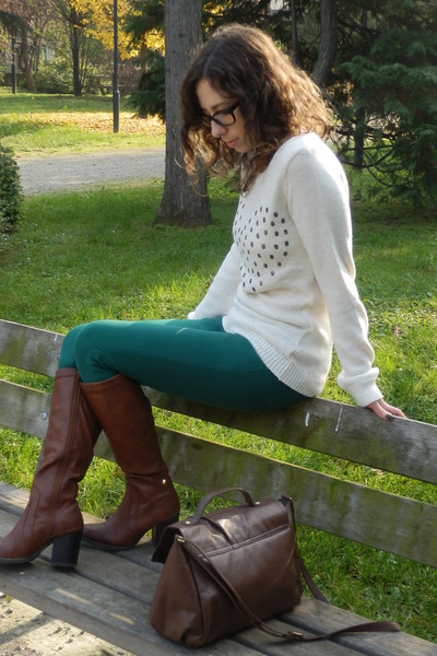 Bershka jumper - Oviesse boots - H&M bag