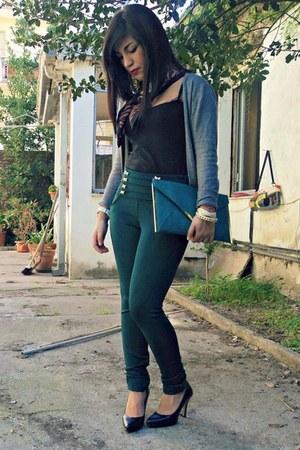 no brand pants - Alviero Martini scarf - asos bag - Piazza Italia cardigan