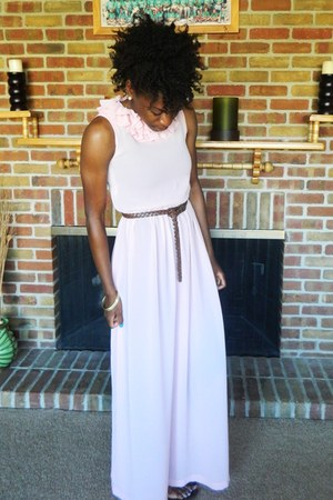 light pink thrifted vintage dress - dark brown Forever 21 belt