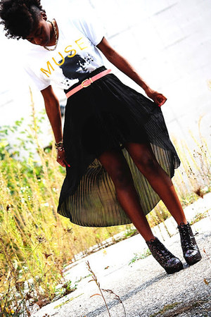 black Forever 21 skirt - bubble gum Charlotte Russe boots