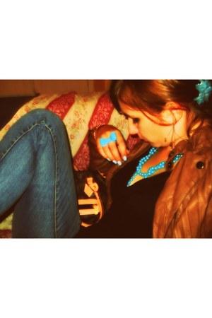 turquoise blue accessories - blue Terranova jeans - tawny Terranova jacket