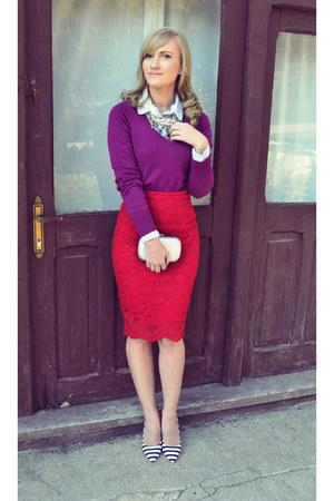 Missguided shoes - c&a sweater - Bershka shirt - H&M bag - poema skirt