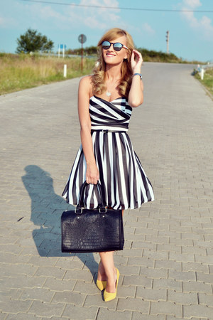 asos dress - Bershka bag - poema heels