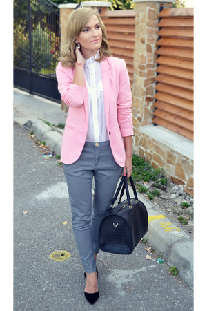 Bershka blazer - asos shirt - Bershka bag - pull&bear pants - depurtatro heels