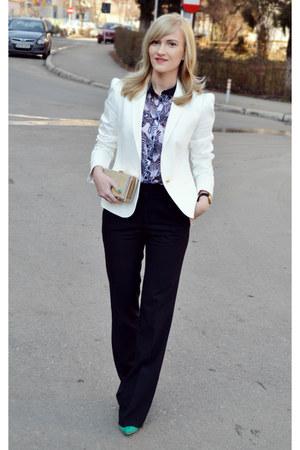 Zara blazer - Bershka shirt - asos bag - depurtatro heels - Zara pants