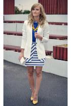 Bershka blazer - H&M shirt - Zara skirt - poema heels