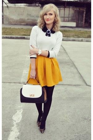 andreea design skirt - H&M sweater - Vero Moda shirt - Depurtat heels