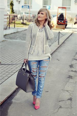 H&M jacket - Bershka jeans - Vero Moda sweater - H&M bag - poema heels