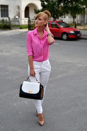H&M shirt - Orsay bag - Zara pants - poema heels