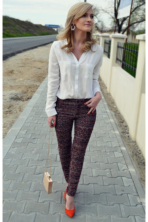 poema bag - Zara pants - poema heels - Atmosphere blouse