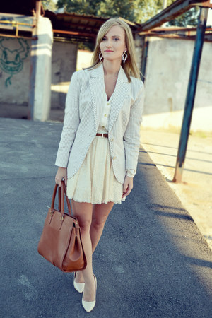 Zara skirt - GINA TRICOT skirt - Hugo Boss blazer - H&M bag - Missguided heels