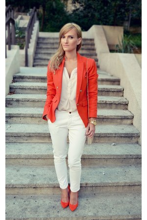 Mango blazer - Zara shirt - H&M blouse - poema heels