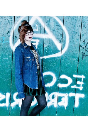denim Levis jacket - velvet American Apparel skirt - creepers sneakers