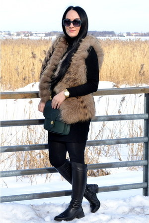 mustard Michael Kors watch - black Bershka dress - teal charles&keith sunglasses